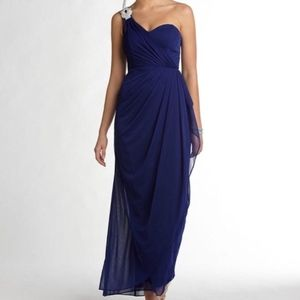 Long Navy XScape One Shoulder Gown